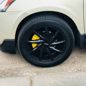 "Custom 1 set 20"" KMC Burst705 with Bridgestone Duelers. MGP Caliper Covers, Crossed drilled /spotted rotors. I will be getting the Traverse lowered to"